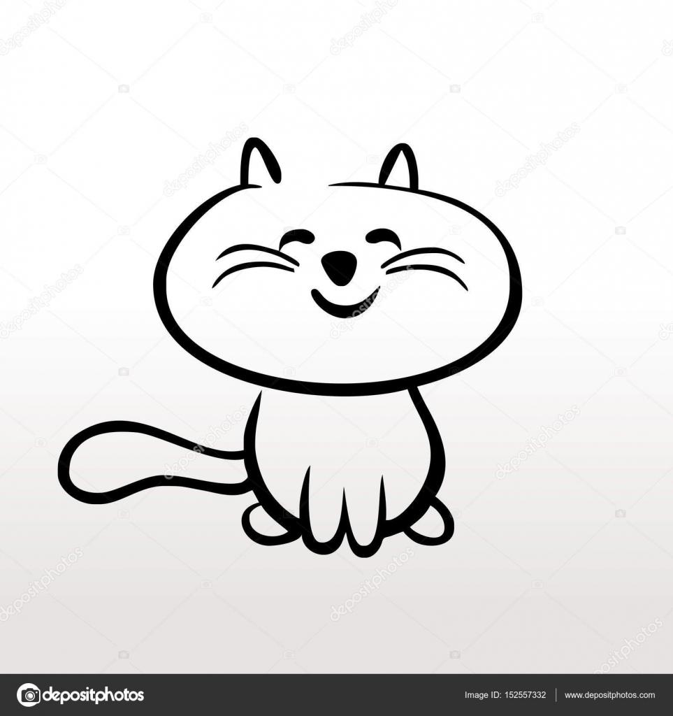 Hijos de gato de gatito para colorear el contorno del cuadro blanco ...