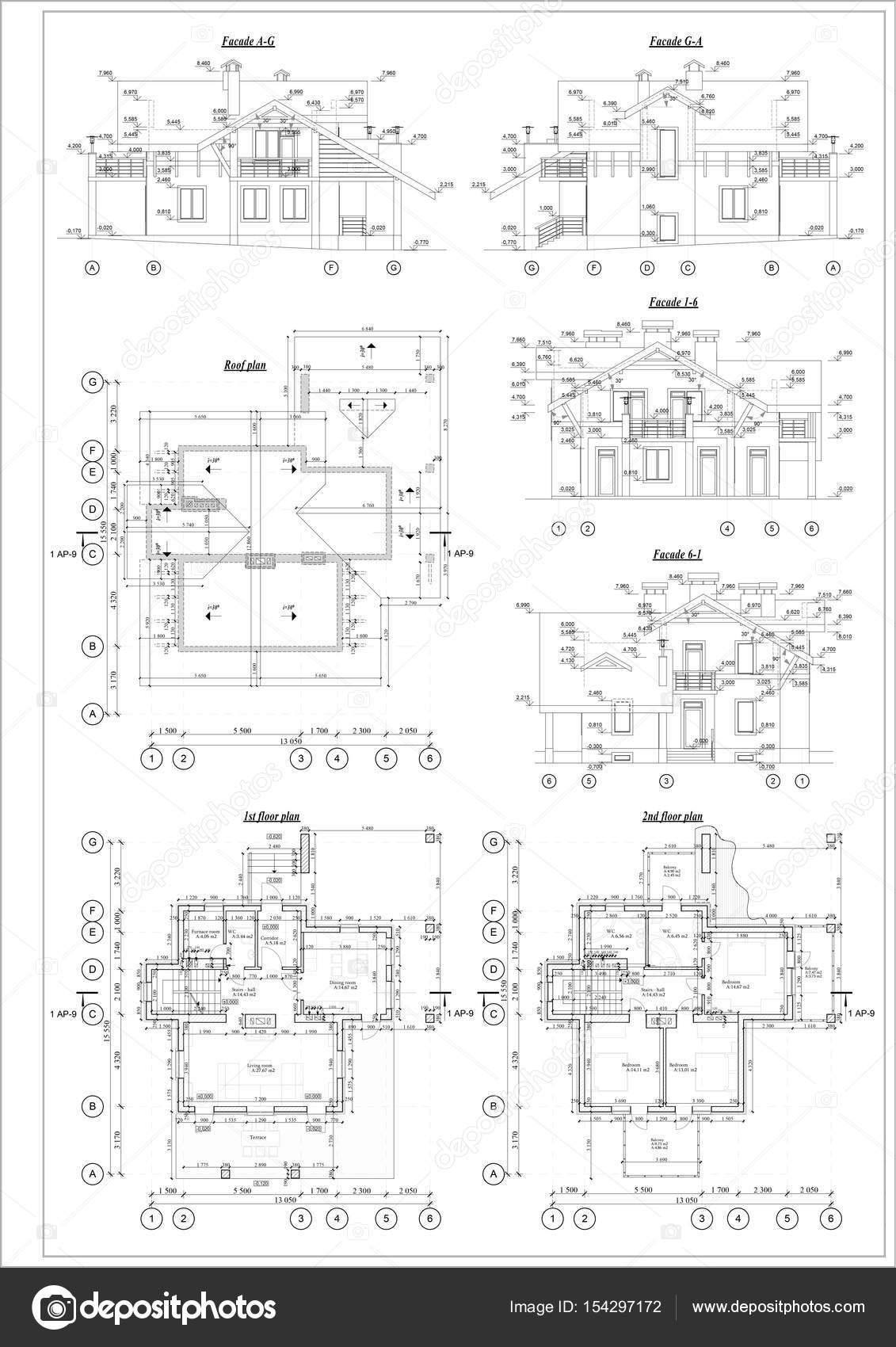 Detailed architectural plan, floor plan, roof plan — Stock Photo ...