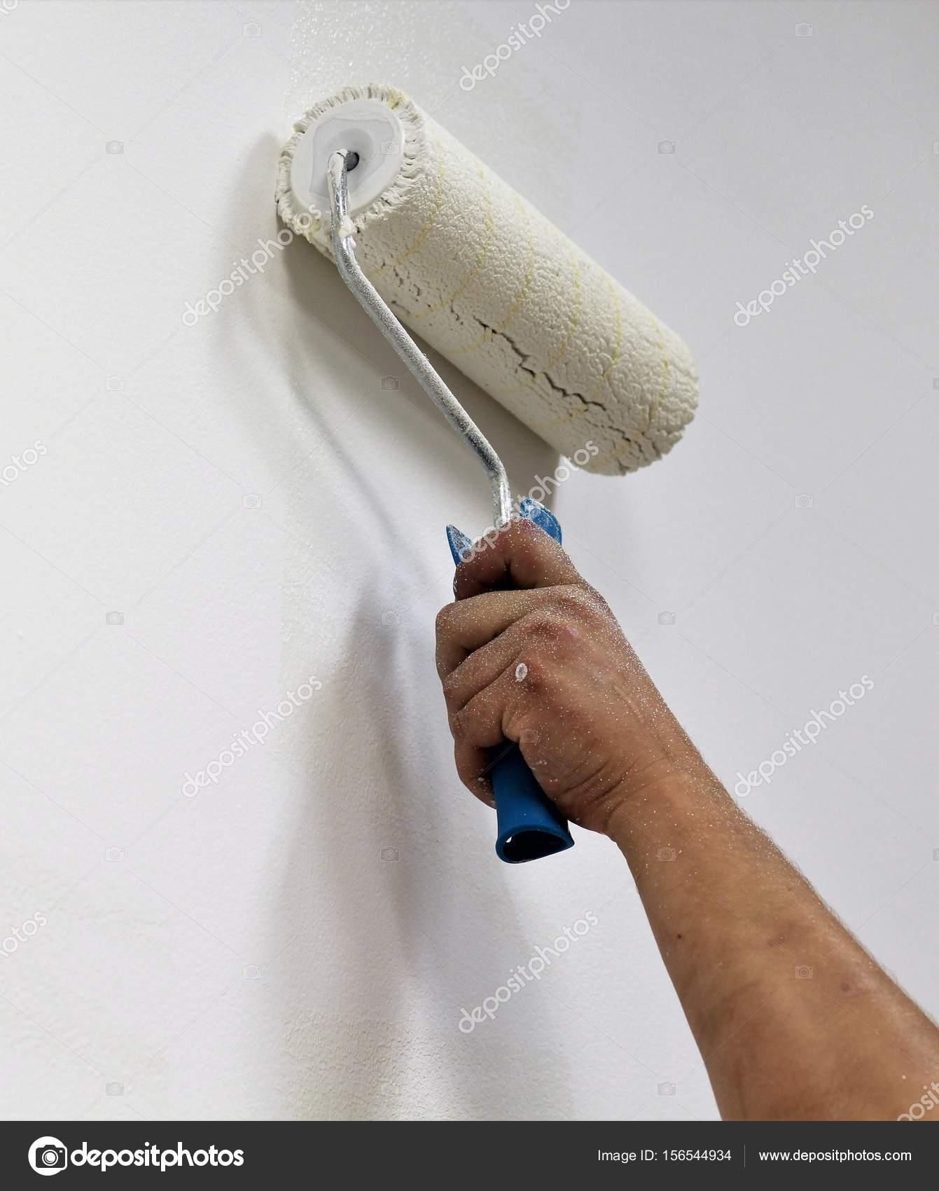 Close Up Of Manu0027s Hand With A Paint Brush Roller Painting Interior Wall In  White U2014 Photo By Mr_Ptica