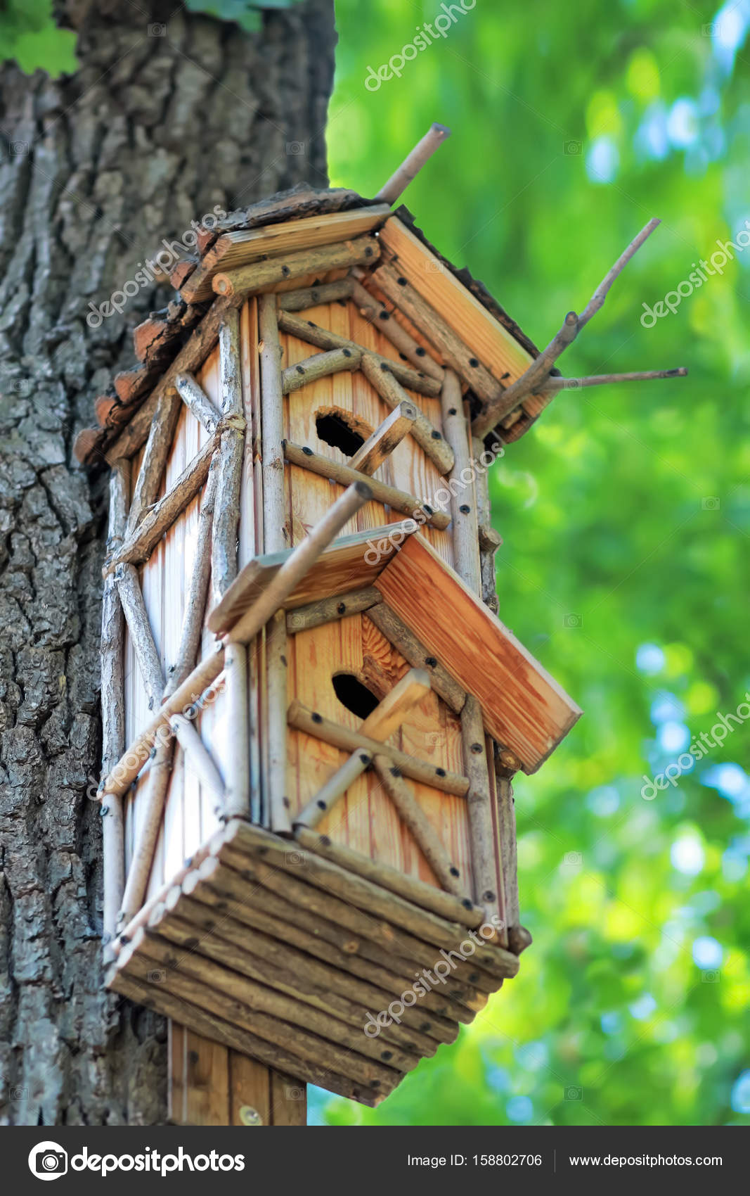 maison d oiseau en bois suspendu l arbre dans un parc la main cr ative photographie mr. Black Bedroom Furniture Sets. Home Design Ideas