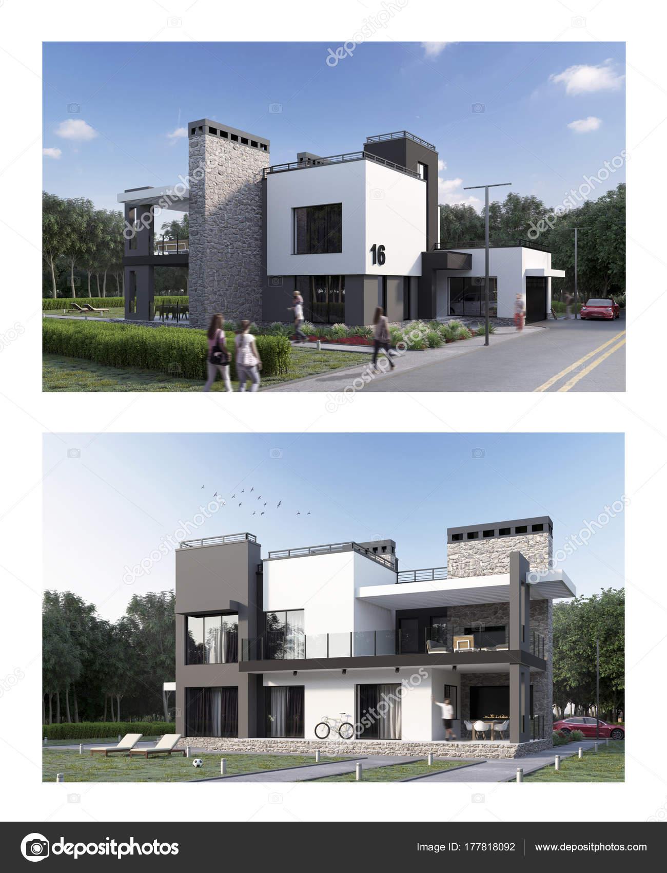 Render Una Casa Moderna Fachada Patio Trasero Vista Con