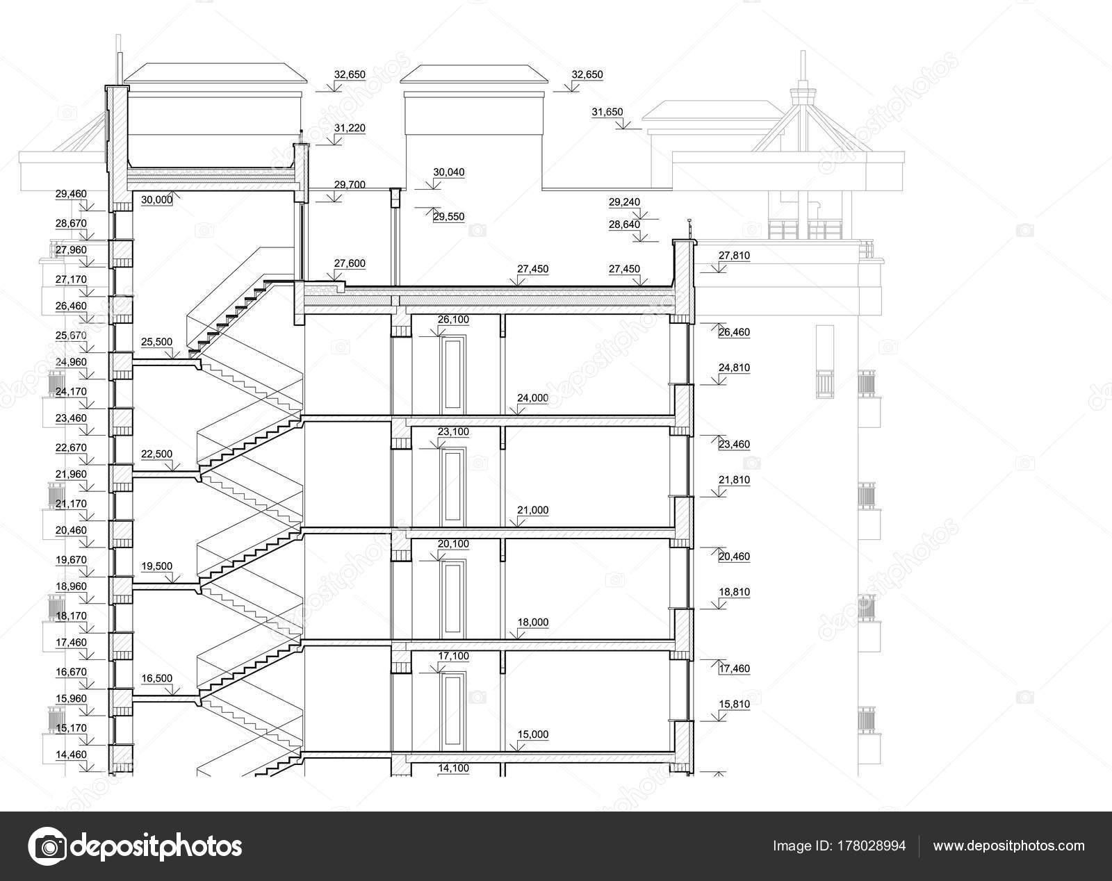 Detailed architectural plan multistory building cross section view detailed architectural plan of multistory building cross section view vector blueprint architectural background vector by mrptica malvernweather Choice Image