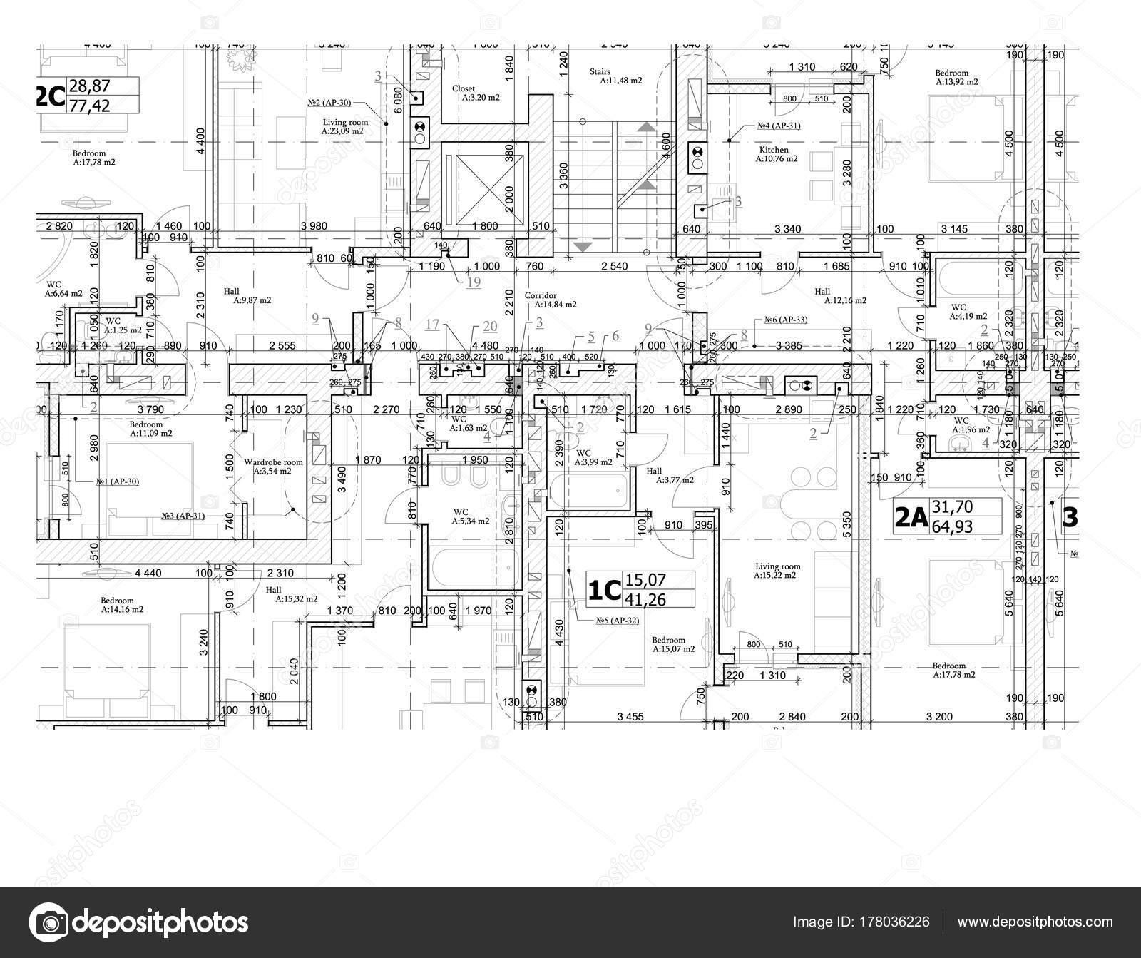 Part Detailed Architectural Plan Floor Plan Layout Blueprint Vector ...