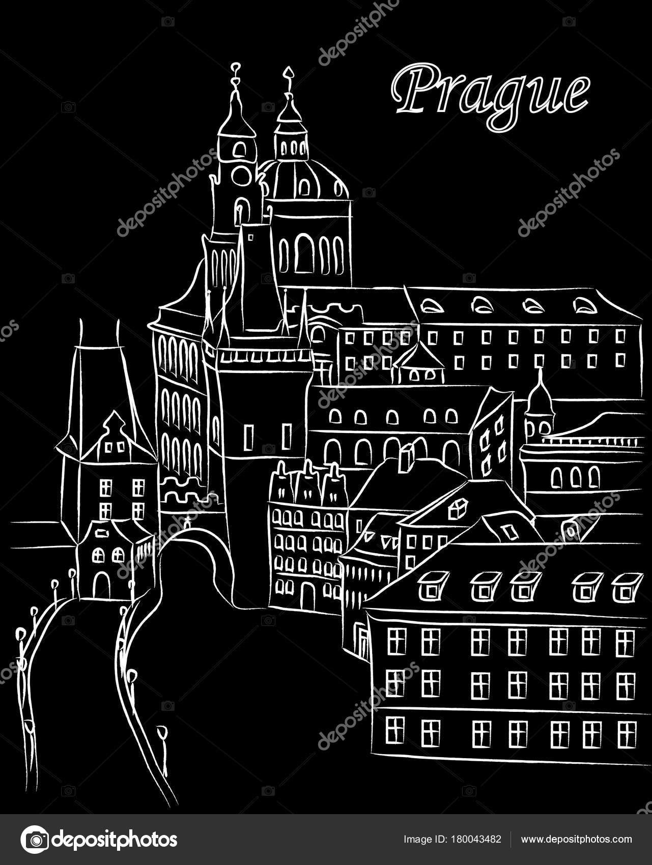 Bile Kreslene Vektorove Ilustrace Centra Prahy Kridou Cernem Pozadi