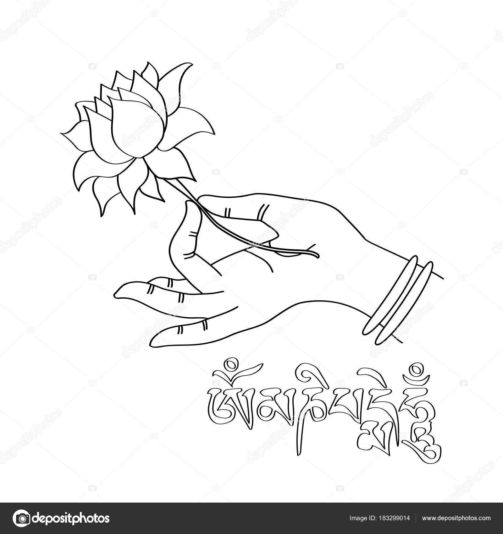 Hand Drawn Hand Buddah Lotus Flower Sanskrit Mantra Mani Padme