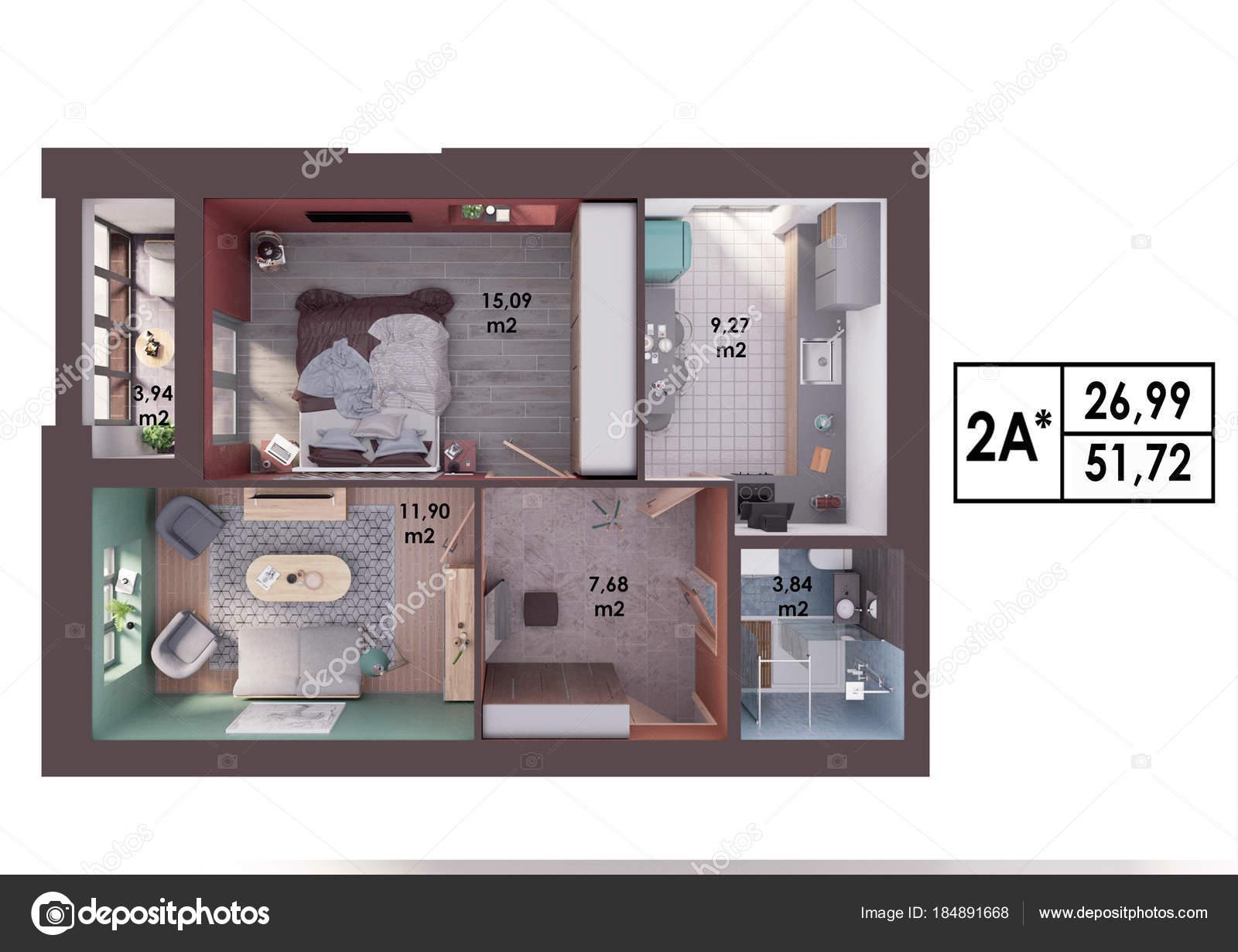 Programma rendering layout moderno appartamento due camere letto