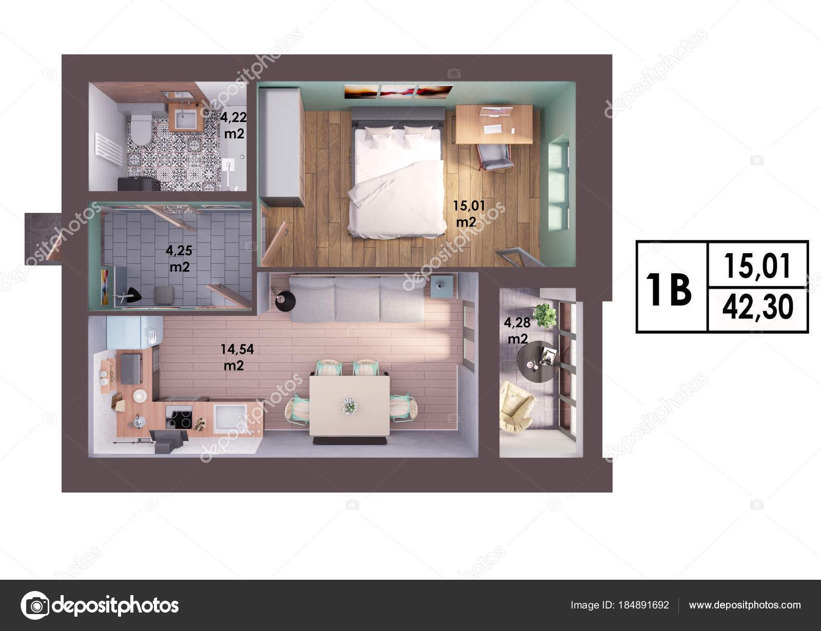 3D Render Plan / Diseño De Un Moderno Apartamento De Un Dormitorio, Vista  Superior   Diseño Apartamentos Modernos U2014 Foto De ...
