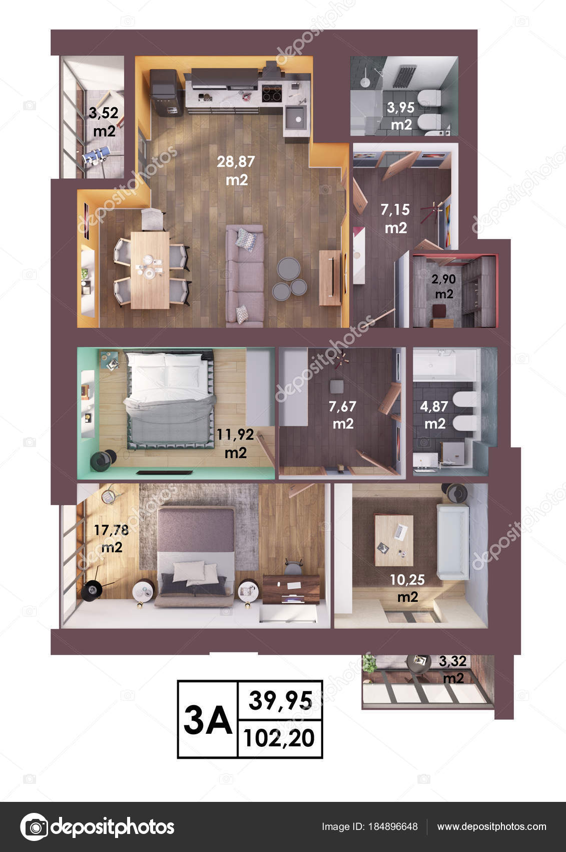 Render Plan Layout Modern Three Bedroom Apartment Top View ...