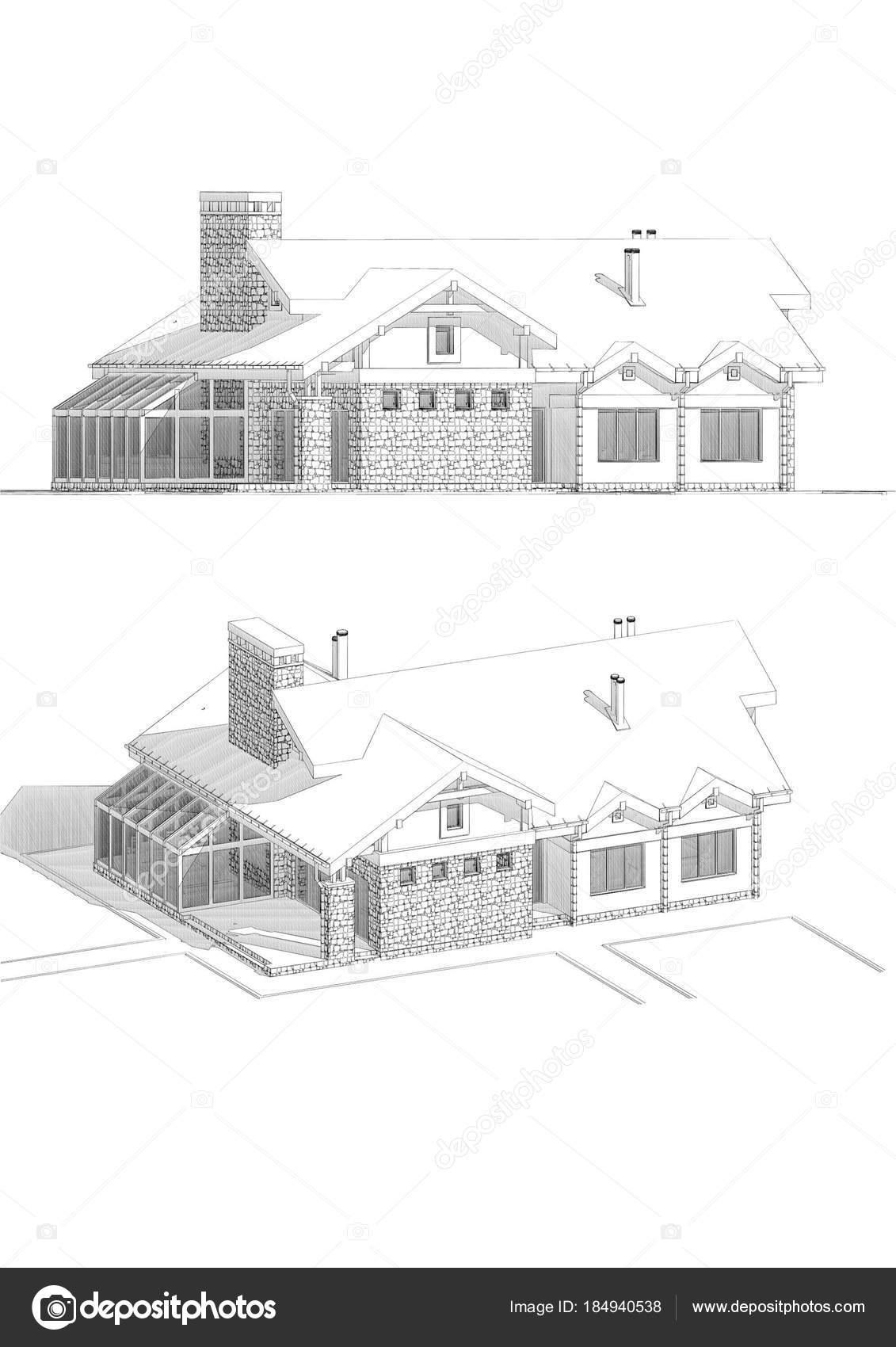 Ilustración Dibujo Lápiz Una Moderna Casa Puntos Vista Diferentes