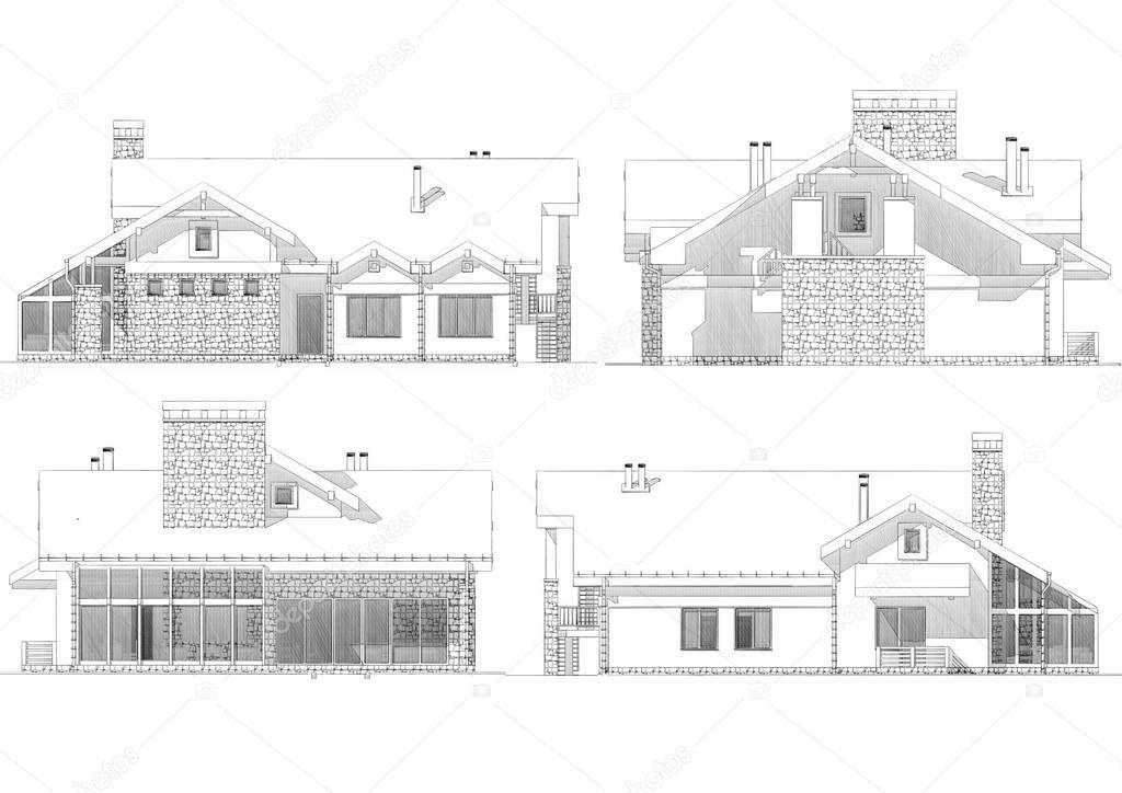 Dibujos dibujo de fachadas de casas ilustraci n dibujo - Dibujos de casas modernas ...