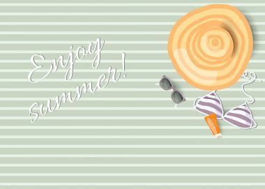 Pastel summer striped background, top view, vector illustration