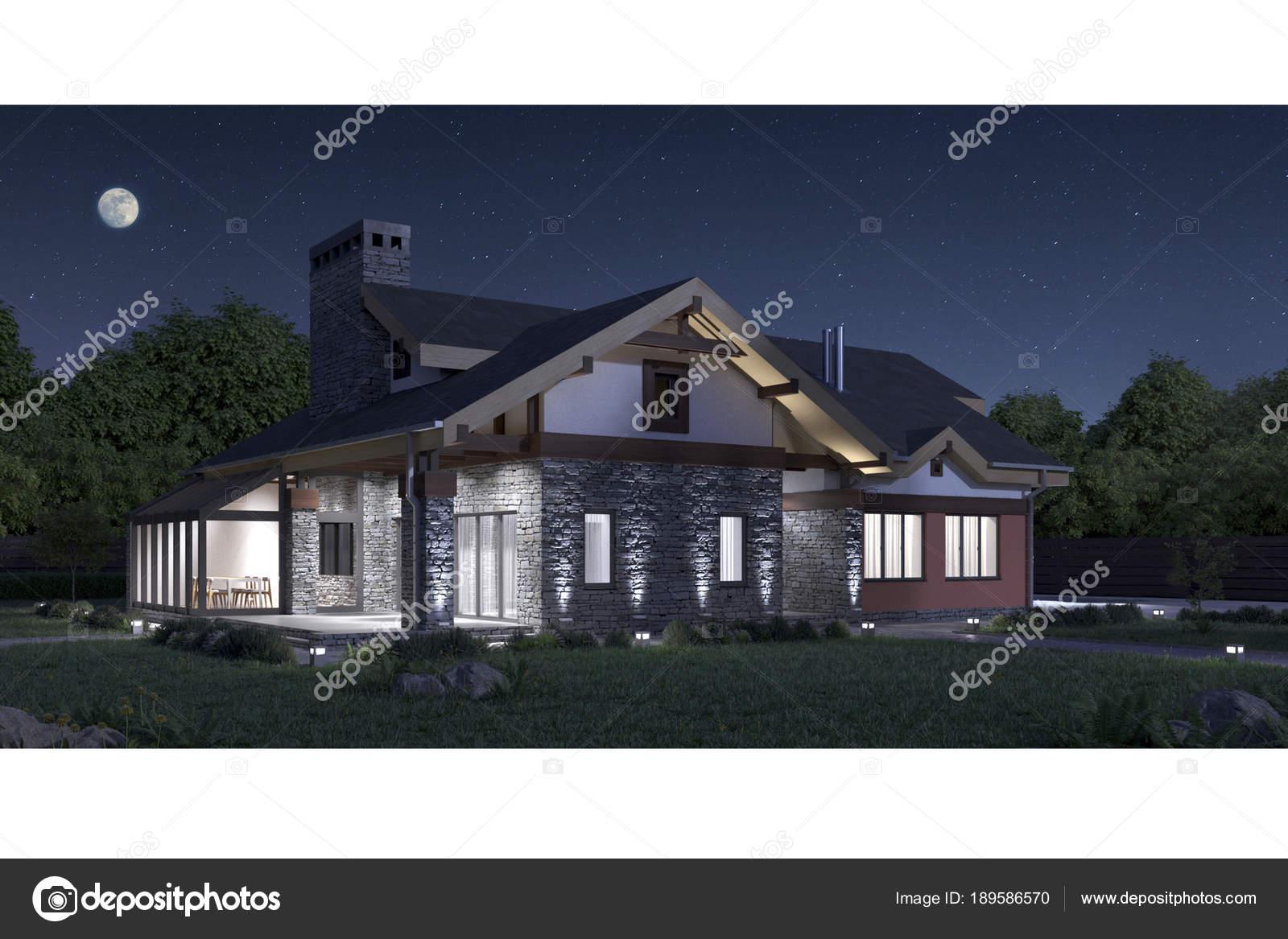 Rendering una facciata casa privata moderna struttura - Facciata casa moderna ...