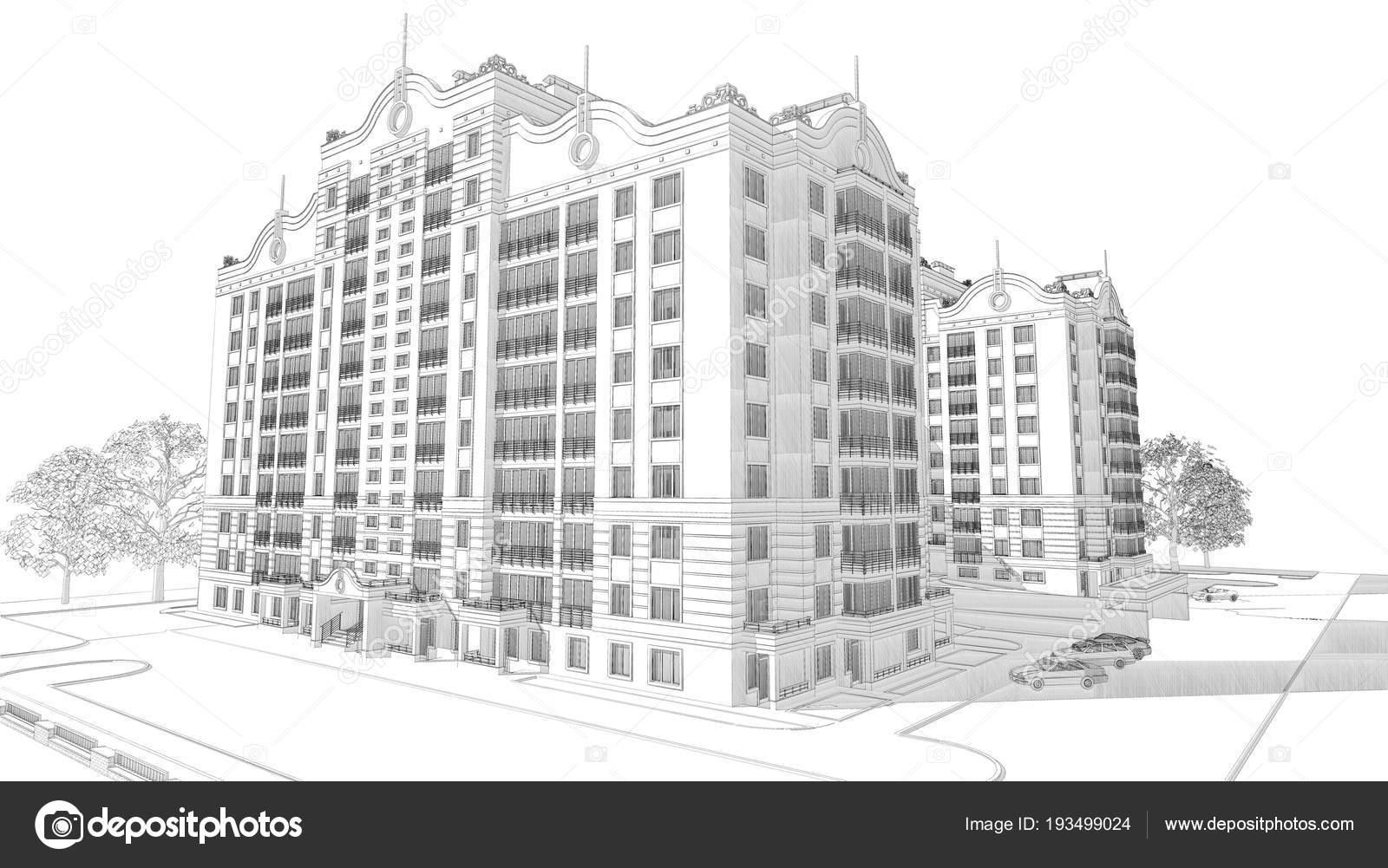 Bleistift Skizze Beispiel Für Eine Moderne Mehrstöckige Gebäude ...