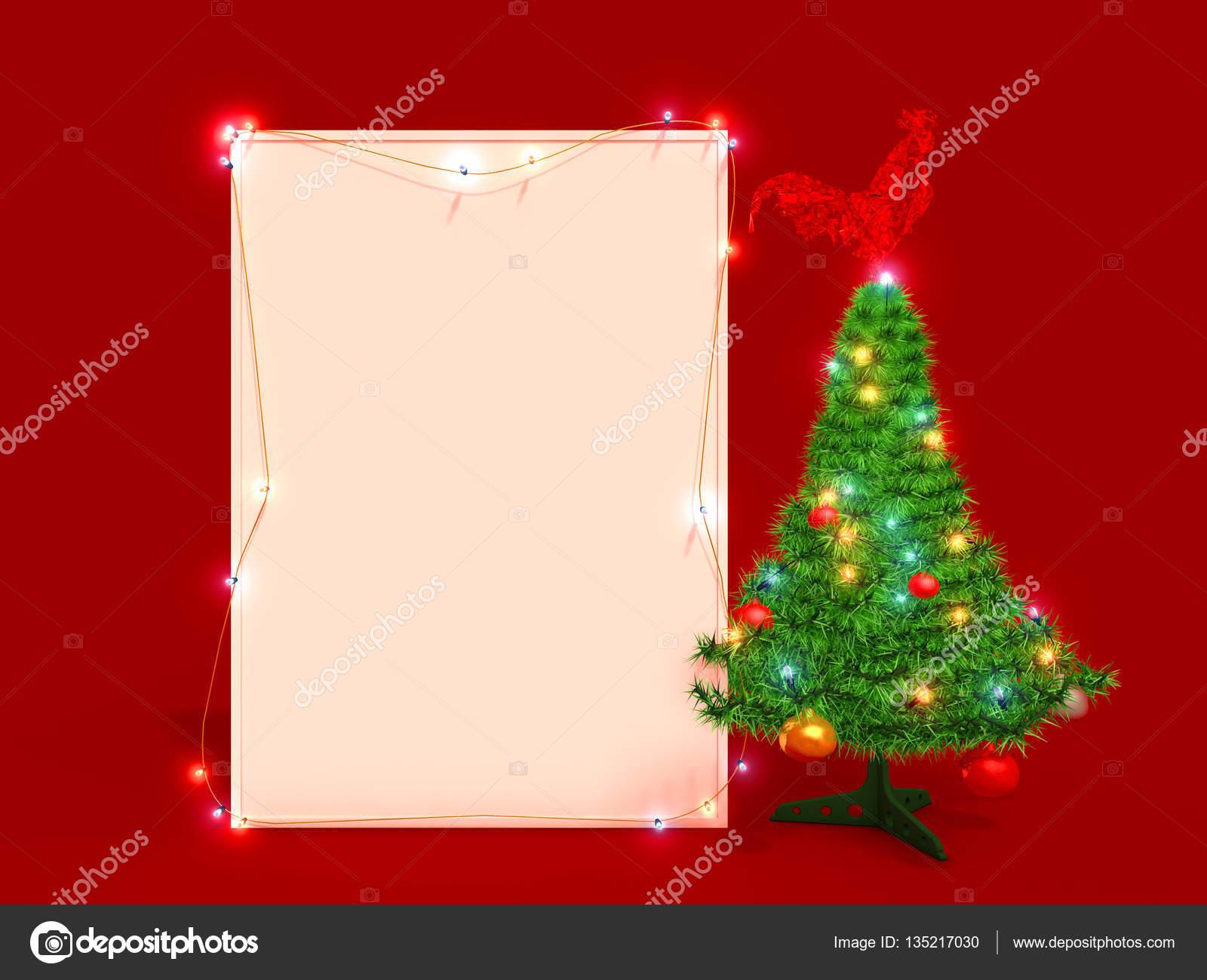 Mock-up-Poster mit Weihnachtsbaum und Glas Hahn — Stockfoto ...