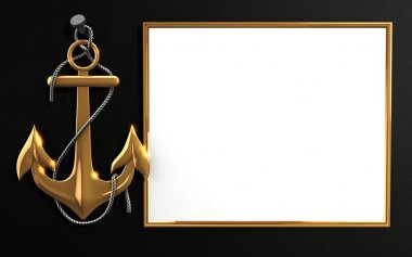 Highly detailed gold anchor with rope isolated on black background