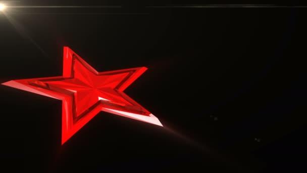 Bez problémů animace tekoucí světlo červené hvězdy na červeném pozadí