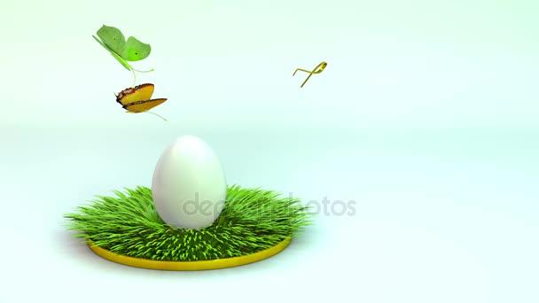 Velikonoční vajíčko na trávě. 3D vykreslování, animace.