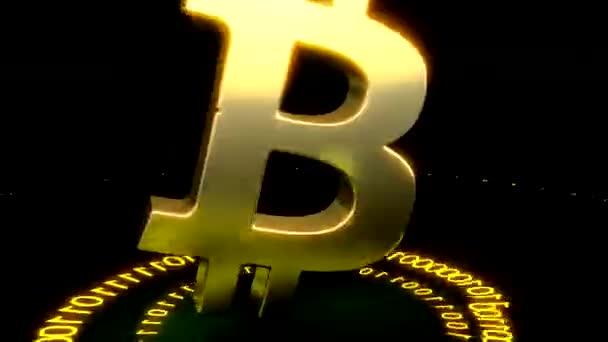 3D model bitcoin logo zlata mince, které rozptylují v různých směrech. Těžba. 3D vykreslování.