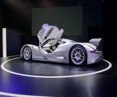 FRANKFURT, GERMANY - SEP 17, 2017: Aspark Owl, concept electric supercar at IAA Frankfurt Motor Show