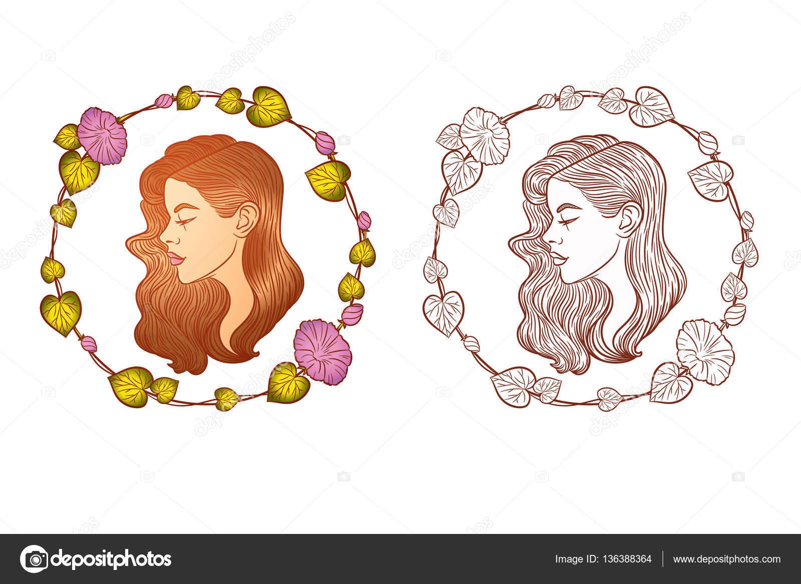 Cara de muchacha de perfil con el pelo largo. Retrato de mujer joven ...