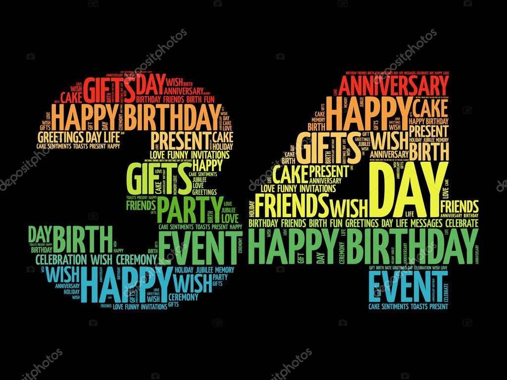 Feliz cumpleaños 34 la palabra nube — Vector de stock