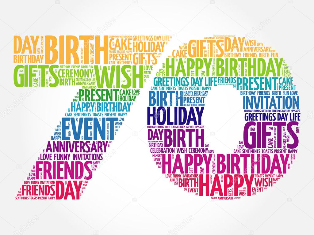 happy 70th birthday word cloud stock vector dizanna 125725662