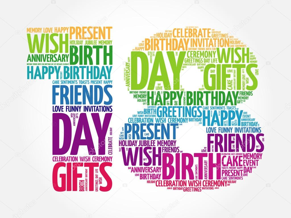 Happy 18th Birthday Word Cloud Stock Vector