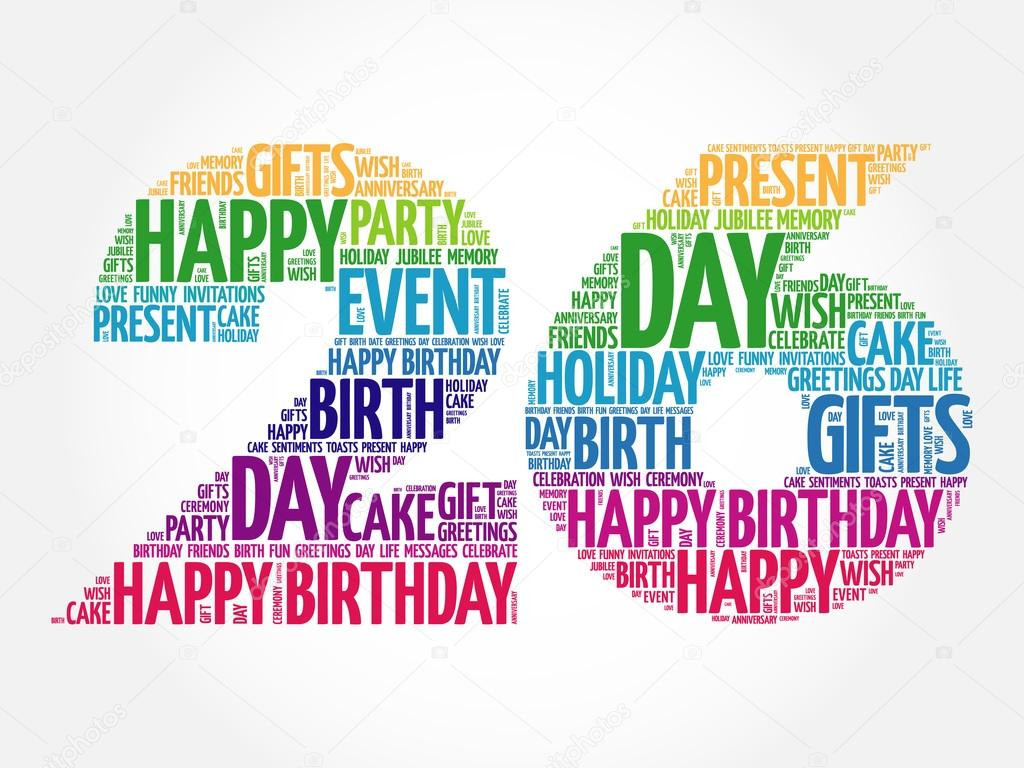 happy 26th birthday word cloud stock vector