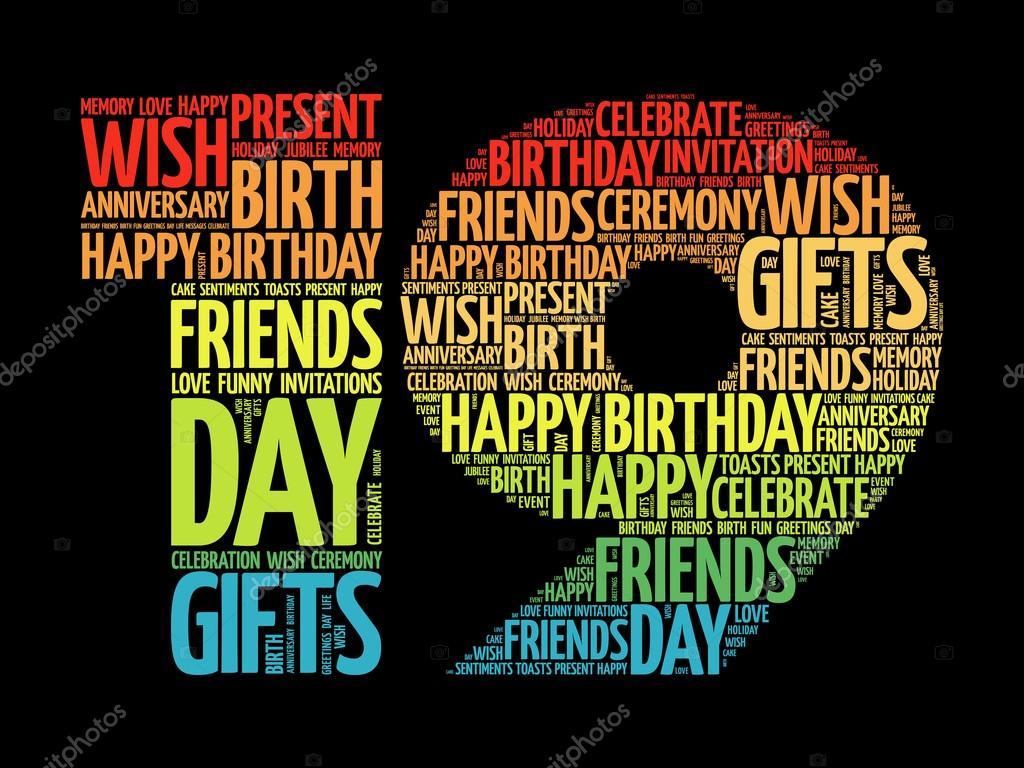 Happy 19th birthday word cloud — Stock Vector © dizanna #125727220