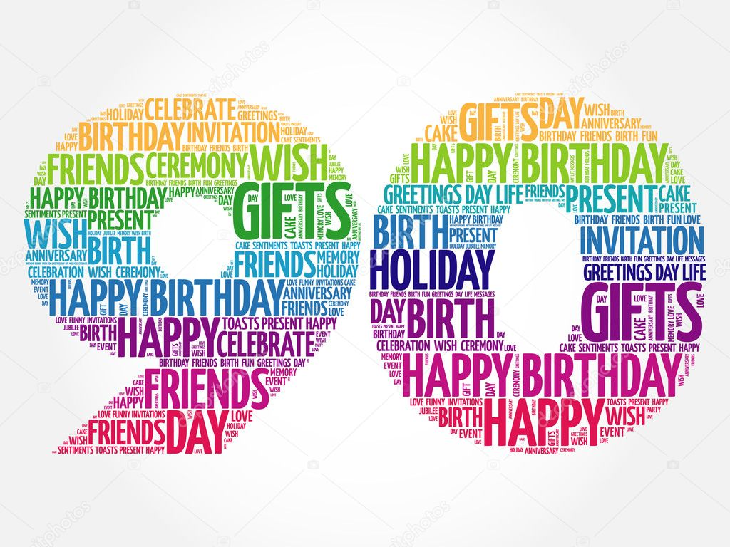 Ideal Happy 90th birthday word cloud — Stock Vector © dizanna #125727532 QE15