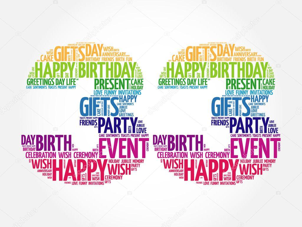 Feliz cumpleaños 33 la palabra nube — Vector de stock ...