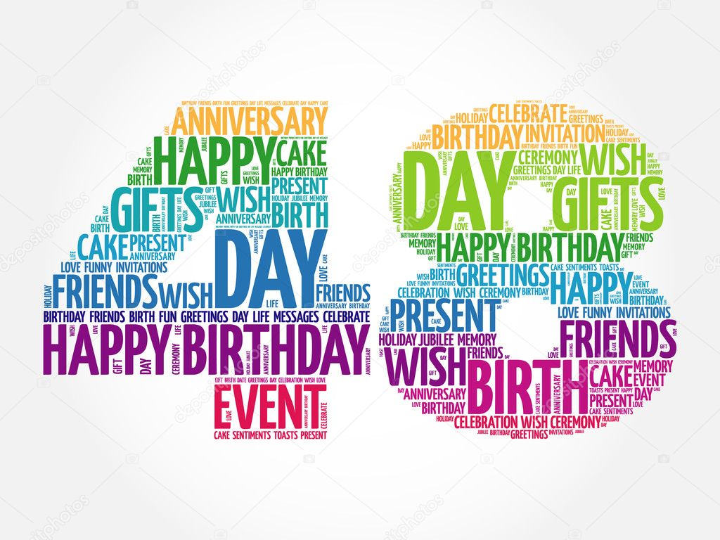 Gelukkig 48e Verjaardag Word Cloud Stockvector C Dizanna 125727732
