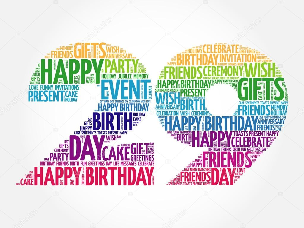 happy 29th birthday word cloud stock vector dizanna