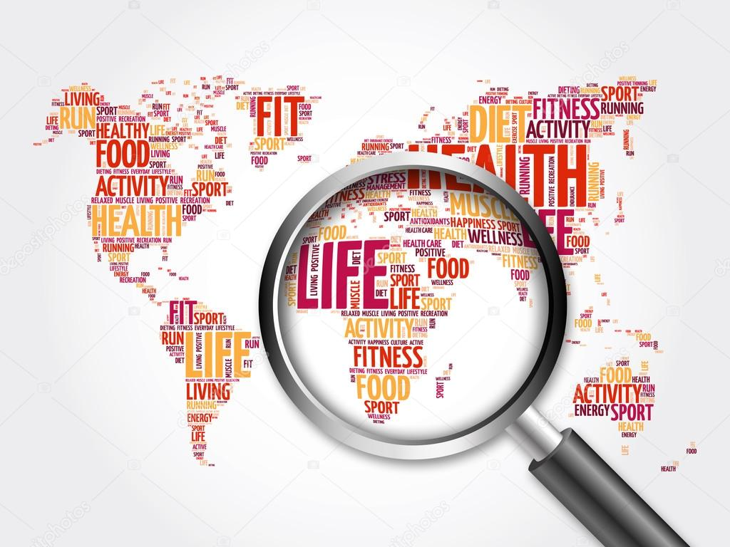 Health And Life World Map In Typography Stock Photo 126058646