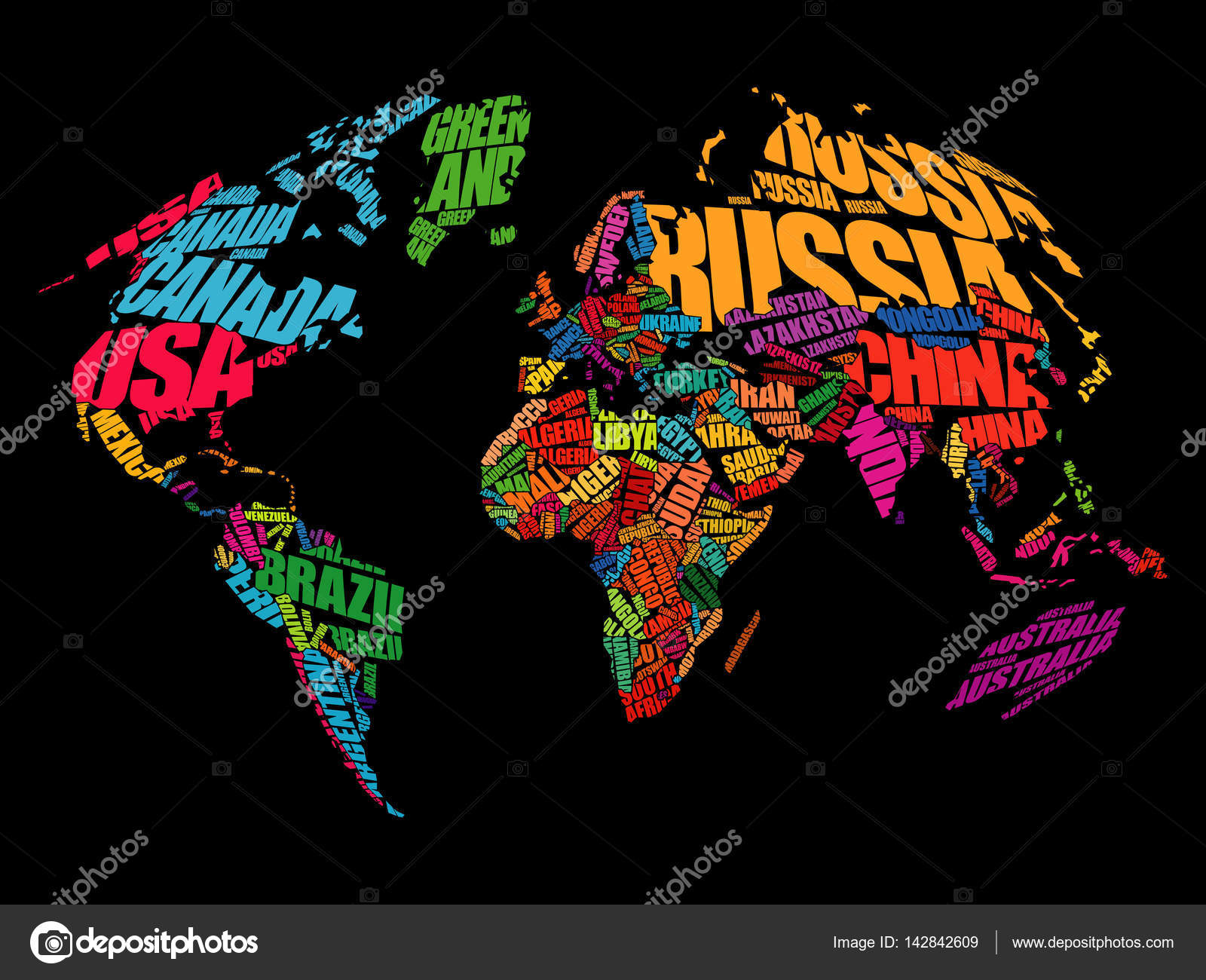 World map in typography word cloud stock vector dizanna 142842609 world map in typography word cloud stock vector gumiabroncs Choice Image