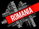 List of cities in Romania word cloud collage