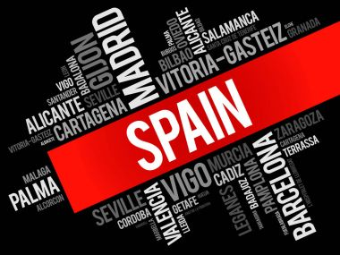 List of cities in Spain word cloud
