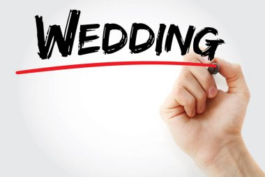 Hand writing Wedding with marker