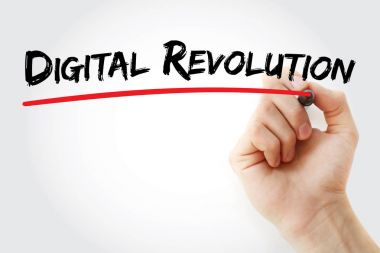 Hand writing Digital revolution with marker