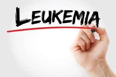 Hand writing Leukemia with marker