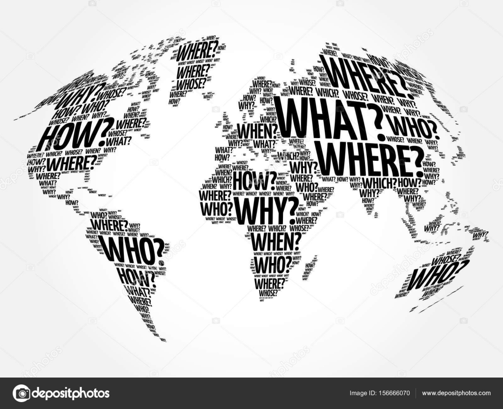 Question words world map in typography stock vector dizanna question words world map in typography stock vector 156666070 gumiabroncs Choice Image