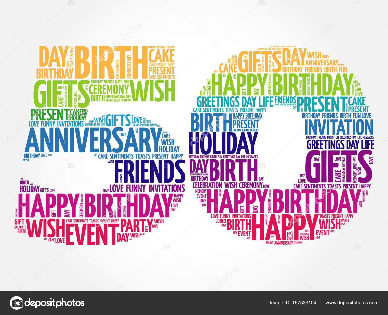 Mensagens De Aniversario De 50 Anos: Feliz Aniversário De 50 Anos A Palavra Nuvem