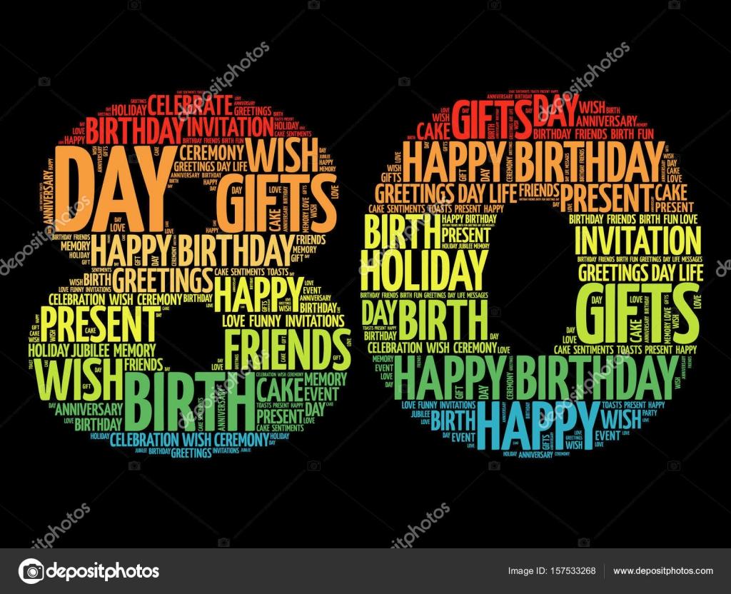Happy 80th Birthday Word Cloud Stock Vector Dizanna 157533268