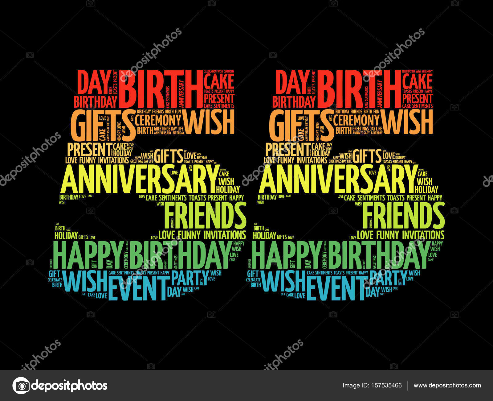 Happy 55th Birthday Word Cloud Stock Vector