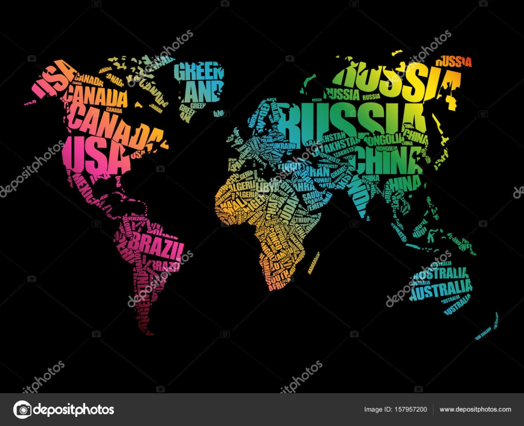 World map in typography word cloud stock vector dizanna 157957200 world map in typography word cloud stock vector gumiabroncs Choice Image