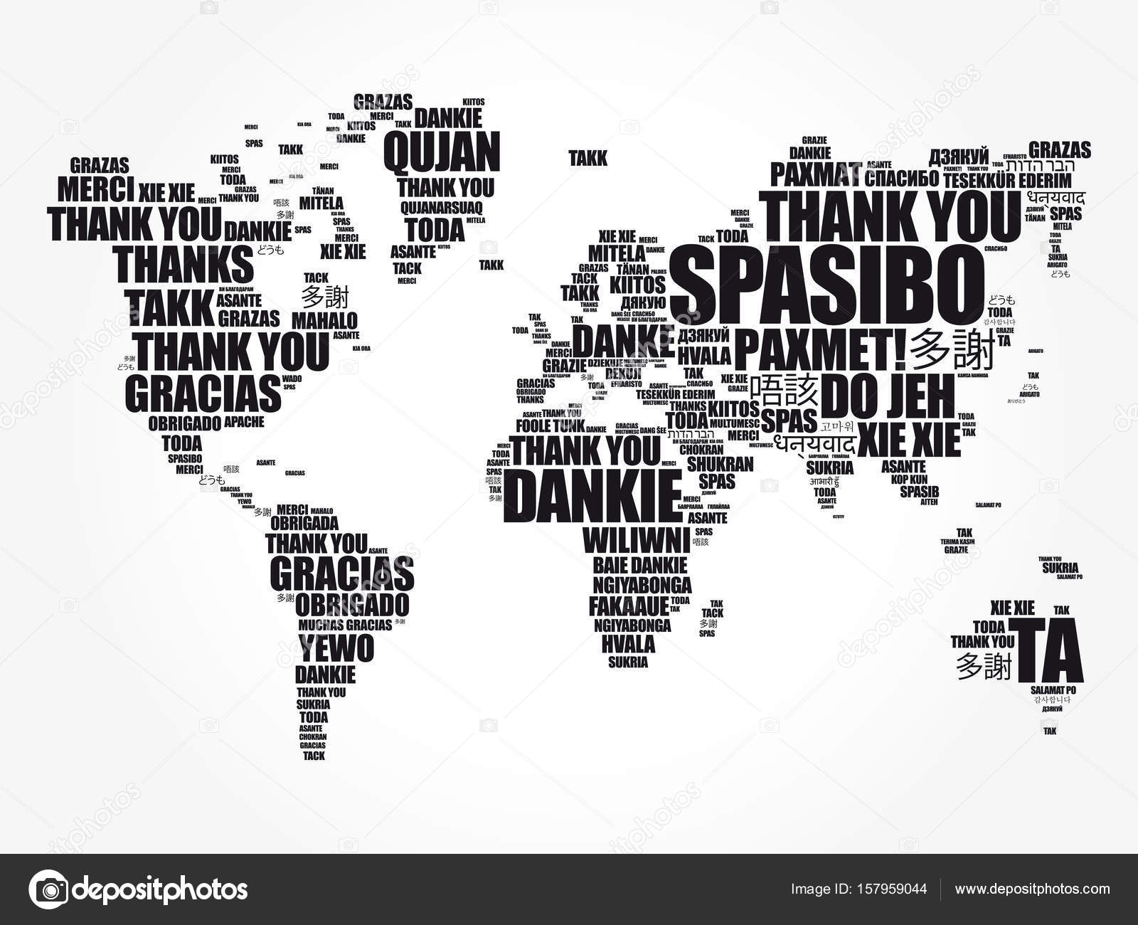 thank you in many languages world map stock vector