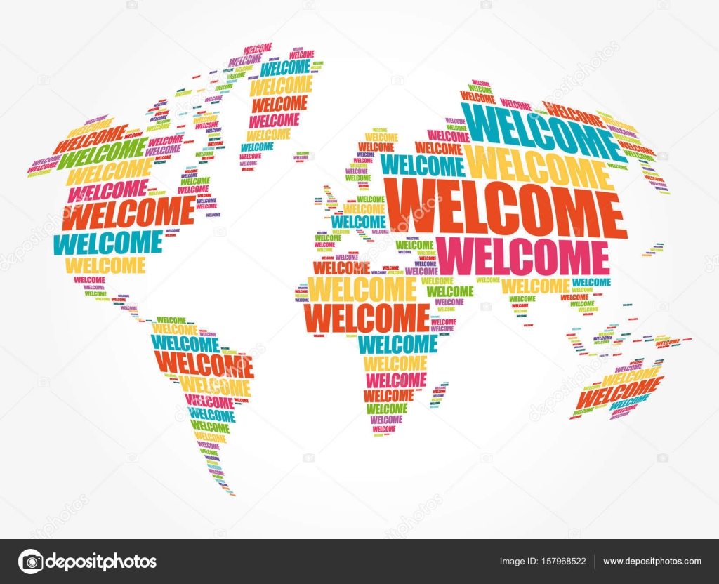 Welcome world map in typography word cloud stock vector dizanna welcome world map in typography word cloud stock vector gumiabroncs Choice Image