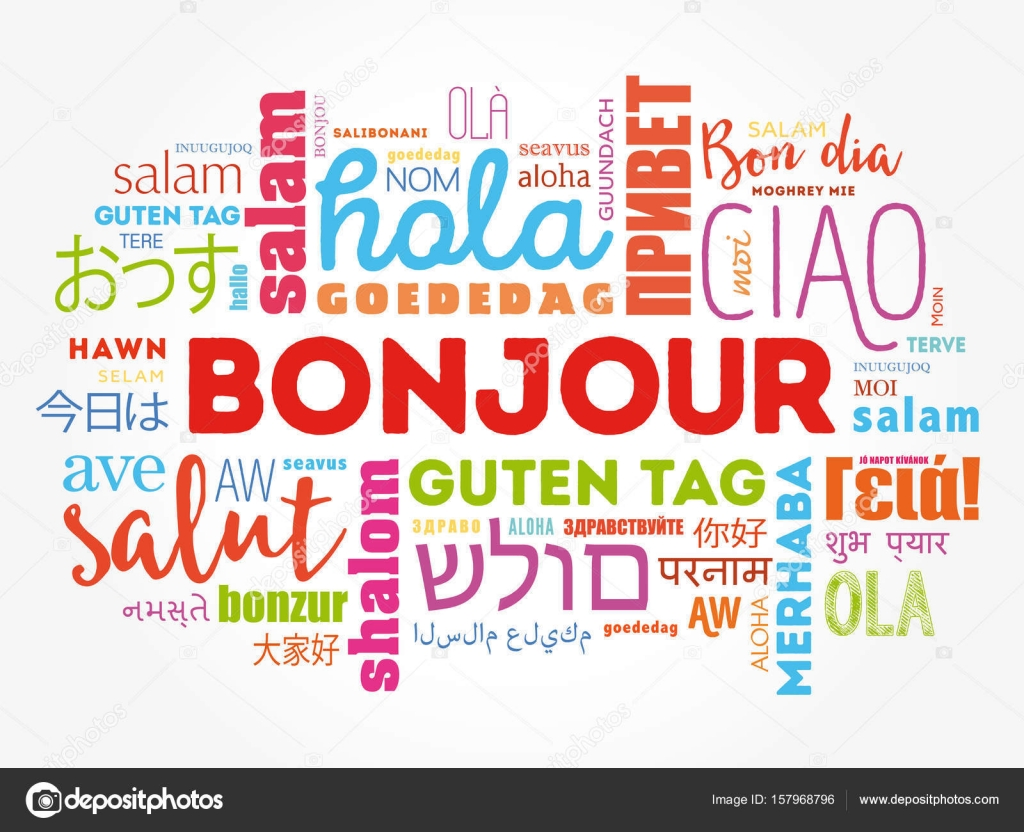 Bonjour hello greeting in french word cloud stock vector bonjour hello greeting in french word cloud in different languages of the world background concept vector by dizanna kristyandbryce Gallery