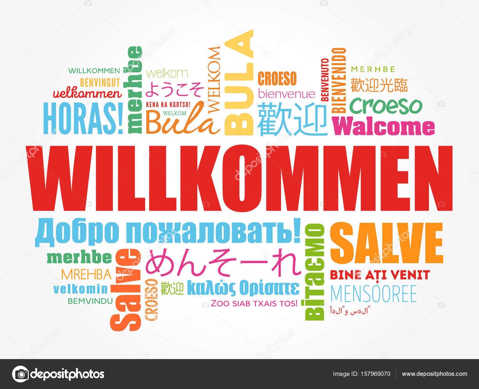 willkommen welcome in german � stock vector 169 dizanna