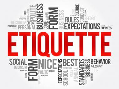 Etiquette word cloud collage
